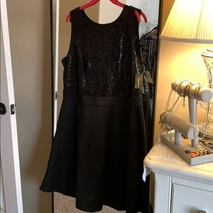 Black sequined cocktail party dress